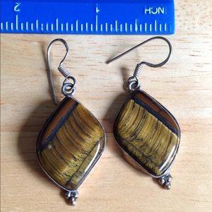 Jewelry - Tigers eye sterling silver earrings.